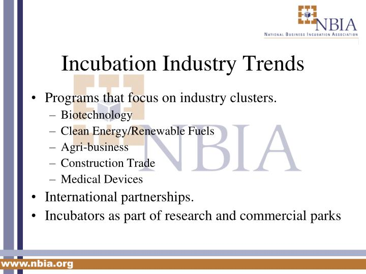 Incubation Industry Trends