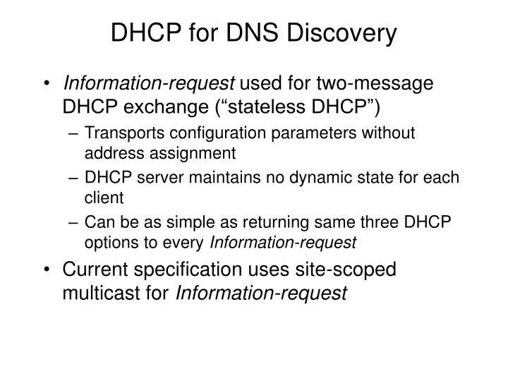 DHCP for DNS Discovery