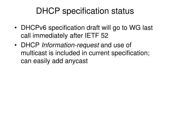 DHCP specification status