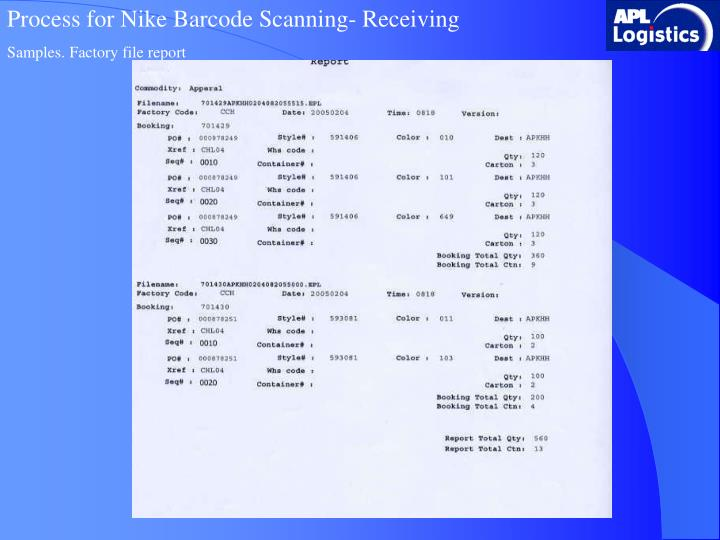 Process for Nike Barcode Scanning- Receiving