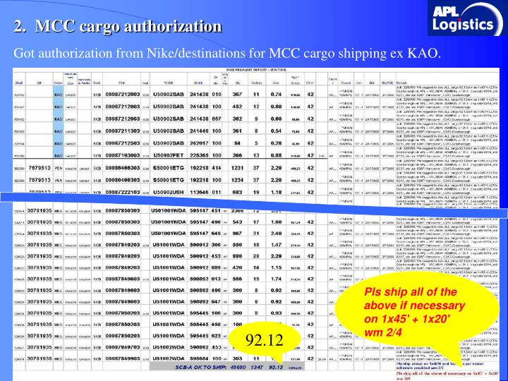 2.  MCC cargo authorization