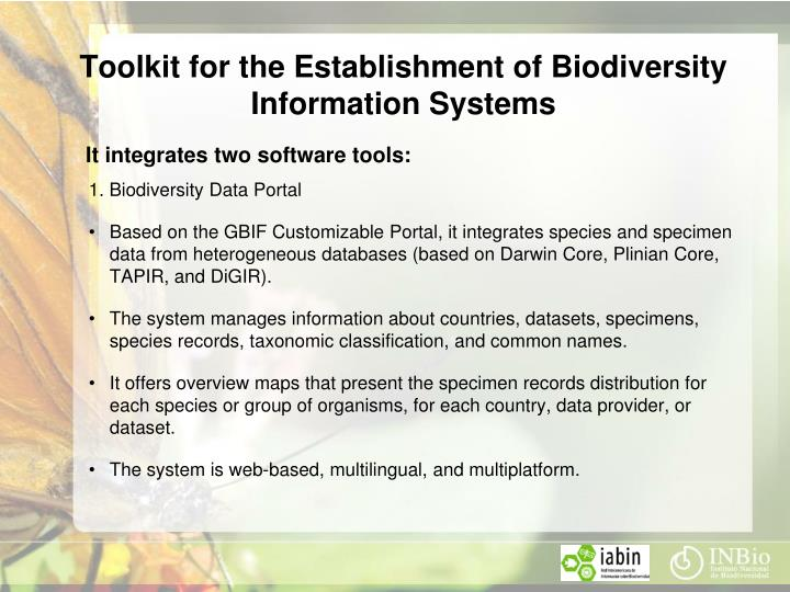 Toolkit for the Establishment of Biodiversity Information Systems
