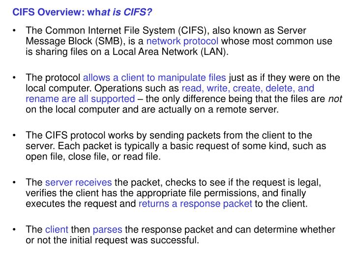 PPT - CIFS Overview: wh at is CIFS? PowerPoint Presentation - ID:4407073