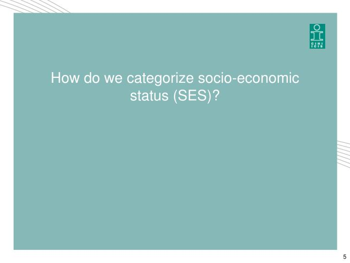 How do we categorize socio-economic status (SES)?