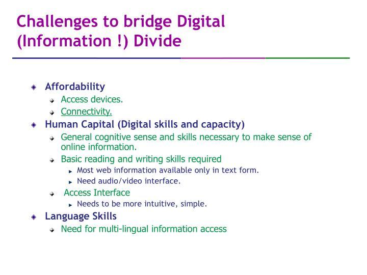 Challenges to bridge digital information divide