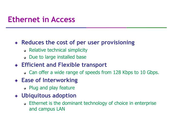 Ethernet in Access