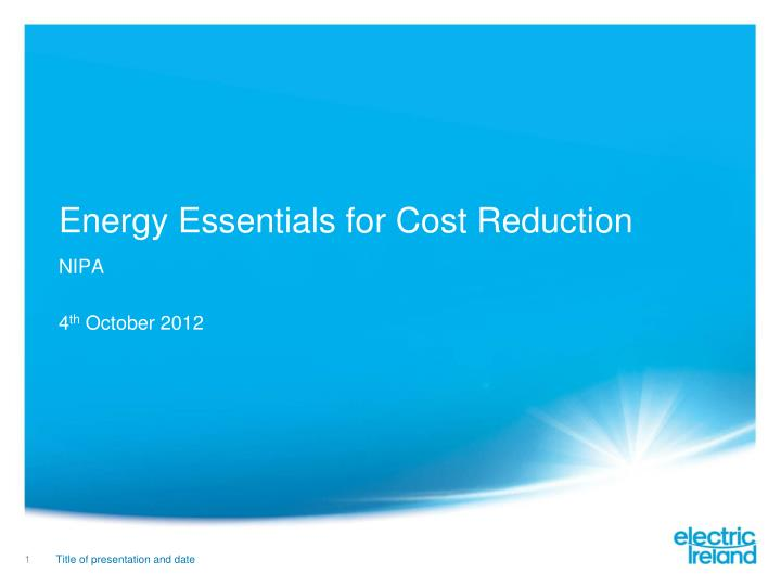 energy essentials for cost reduction n.