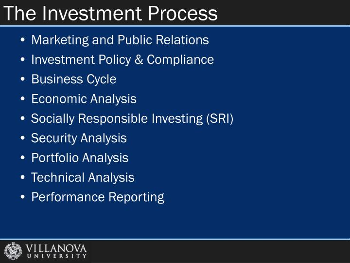 the investment process Investment process--the more staid aspect of investing while it may seem less exciting, the investment process is the workhorse behind any sustainable investment strategy.