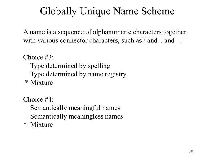 Globally Unique Name Scheme