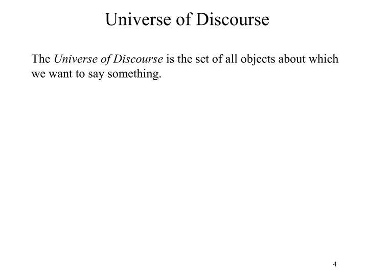 Universe of Discourse