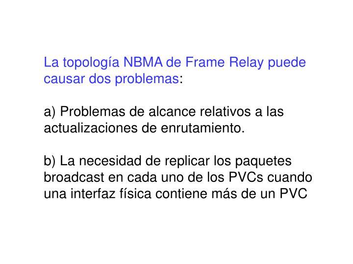 La topología NBMA de Frame Relay puede causar dos problemas