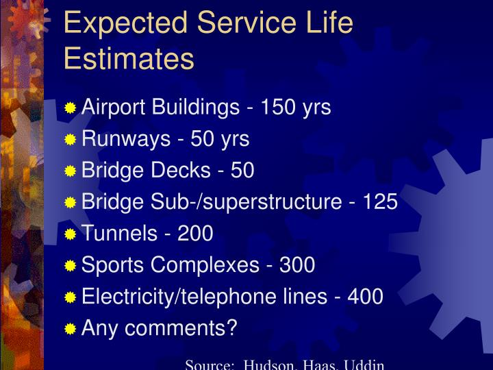 Expected Service Life Estimates