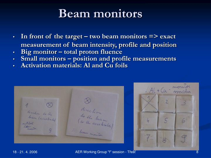 Beam monitors