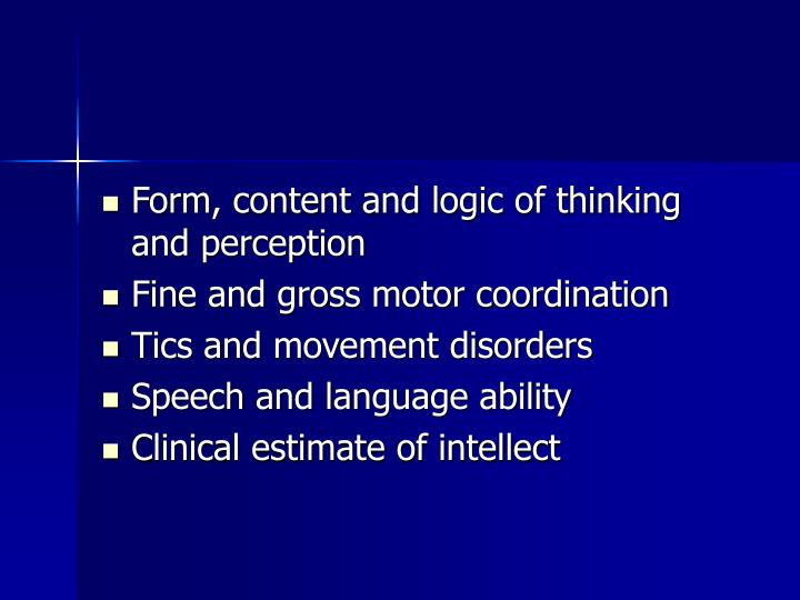 Form, content and logic of thinking and perception