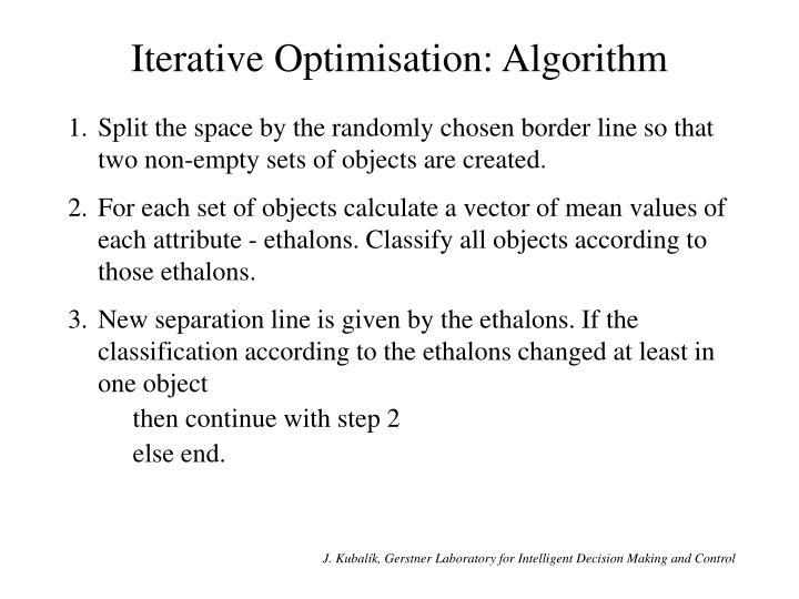 Iterative Optimisation: Algorithm