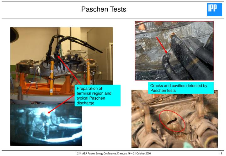 Cracks and cavities detected by Paschen tests