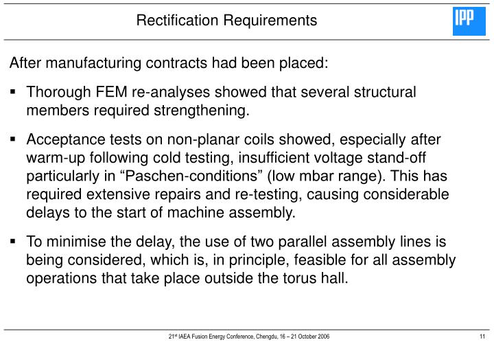 Rectification Requirements