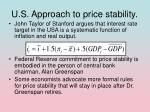 u s approach to price stability