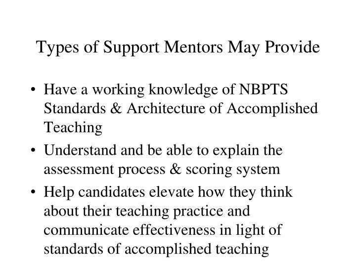 Types of Support Mentors May Provide