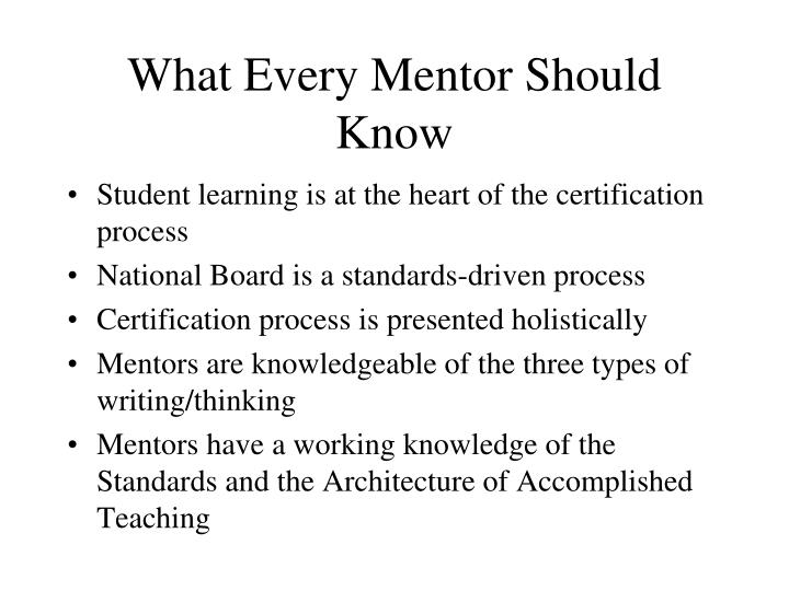 What Every Mentor Should Know