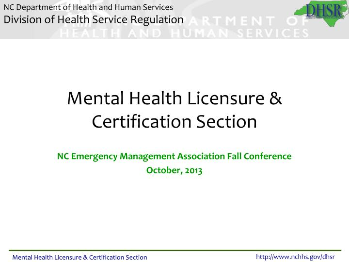 mental health licensure certification section n.