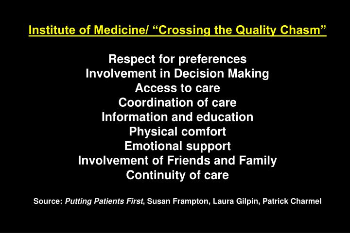 "Institute of Medicine/ ""Crossing the Quality Chasm"""