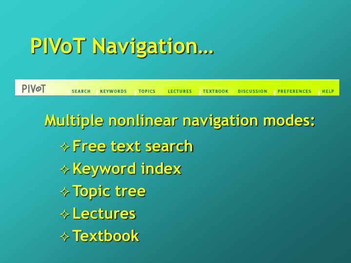 PIVoT Navigation…