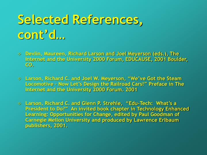 Selected References, cont'd…