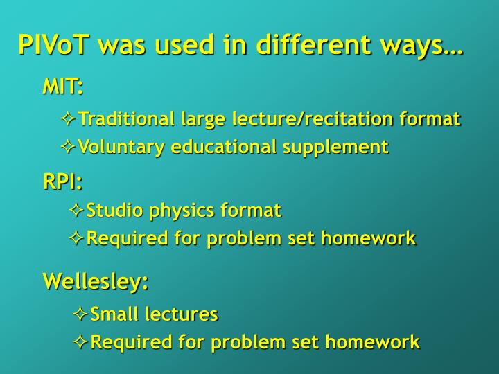 PIVoT was used in different ways…