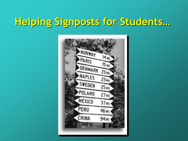 Helping Signposts for Students…