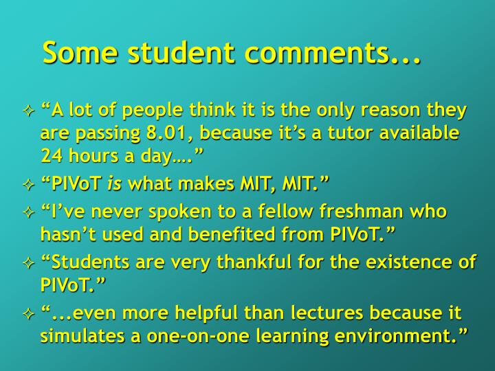 Some student comments...