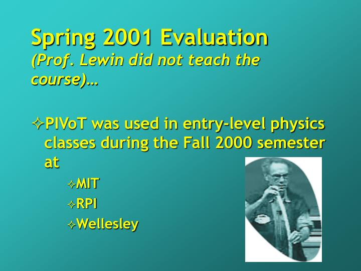 Spring 2001 Evaluation
