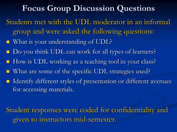 Focus Group Discussion Questions