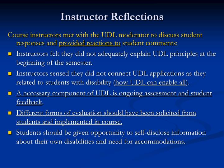 Instructor Reflections