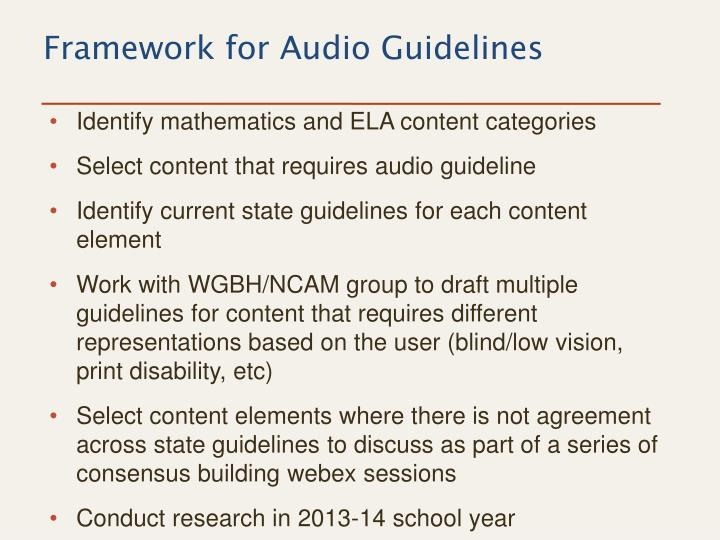 Framework for Audio Guidelines