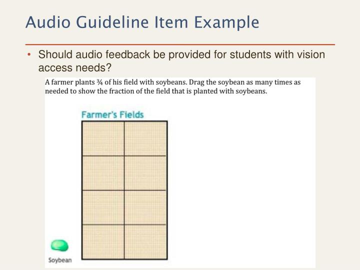 Should audio feedback be provided for students with vision access needs?