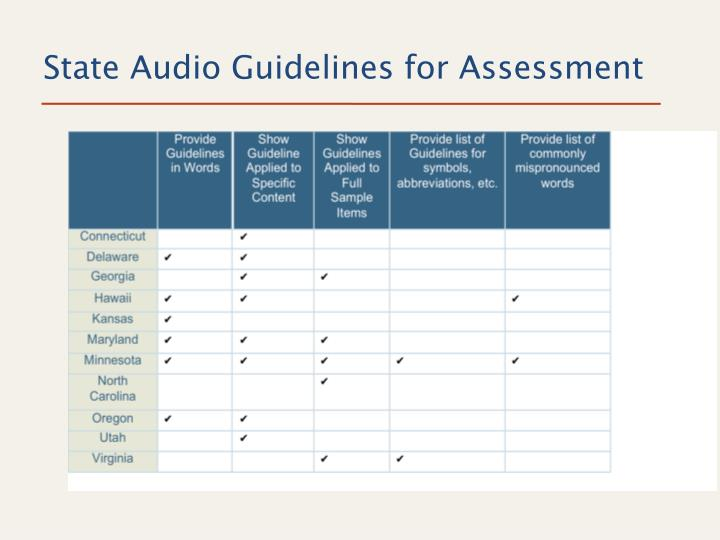 State Audio Guidelines for Assessment