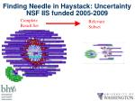 finding needle in haystack uncertainty nsf iis funded 2005 2009