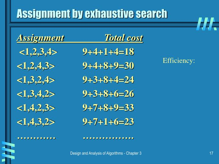 Assignment by exhaustive search