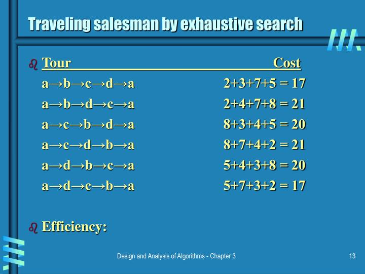 Traveling salesman by exhaustive search