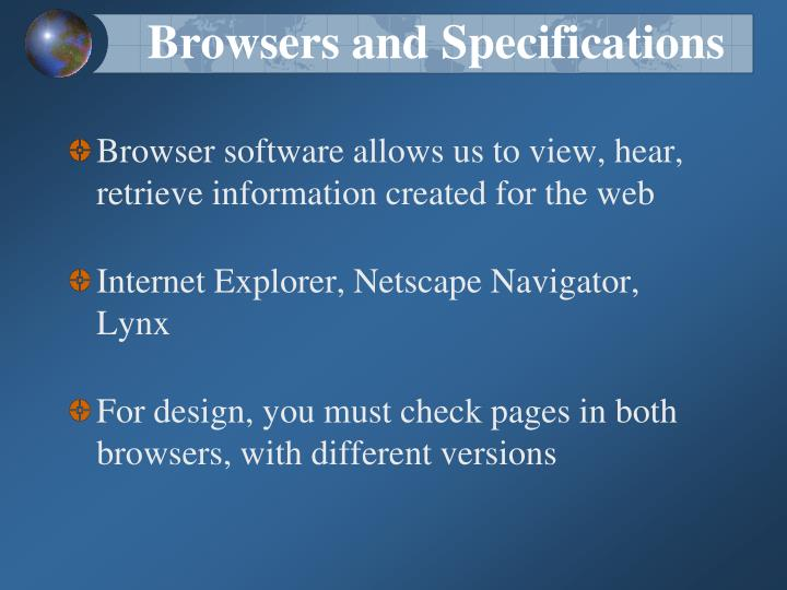 Browsers and Specifications
