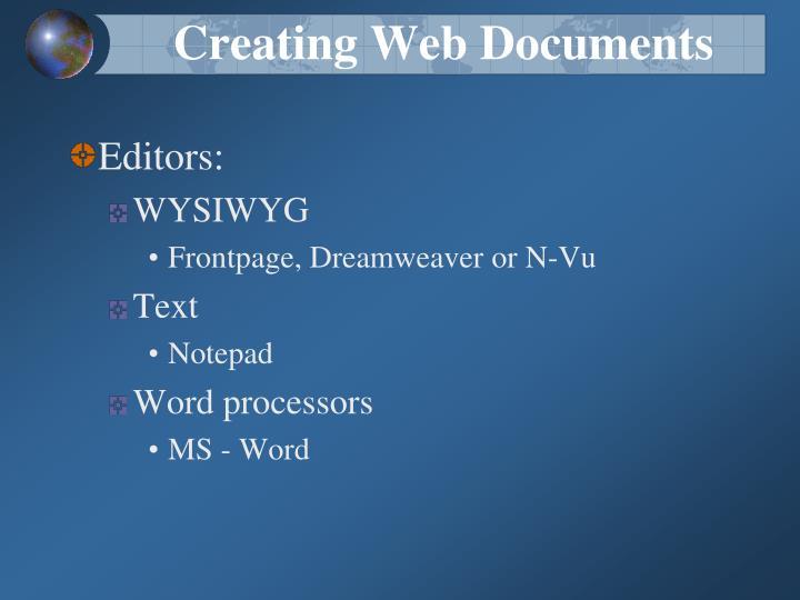 Creating Web Documents