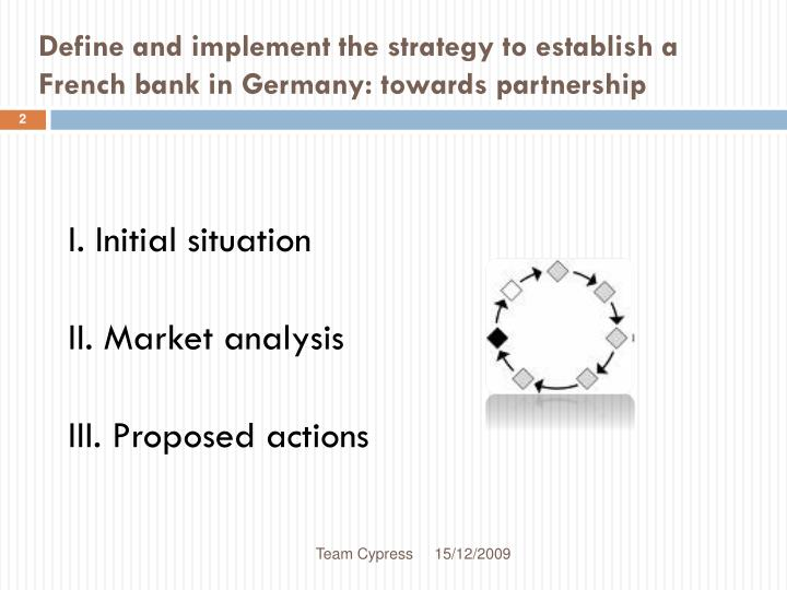 Define and implement the strategy to establish a french bank in germany towards partnership