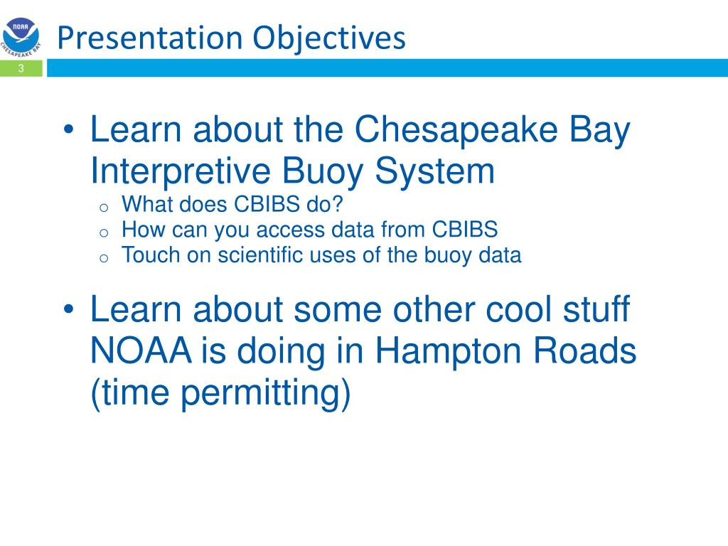 PPT - NOAA Chesapeake bay interpretive buoy System Update