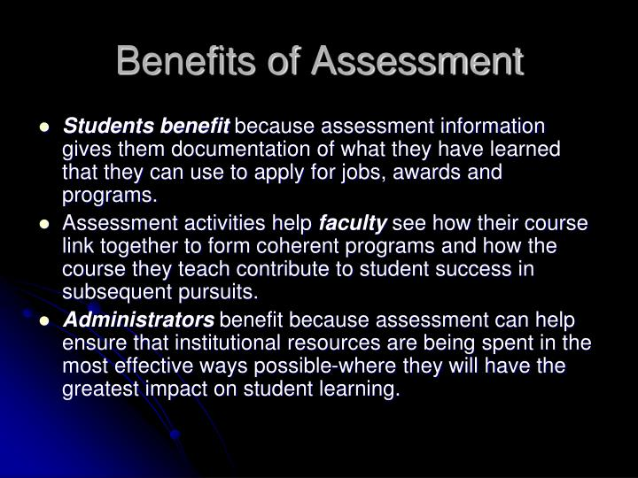 Benefits of Assessment