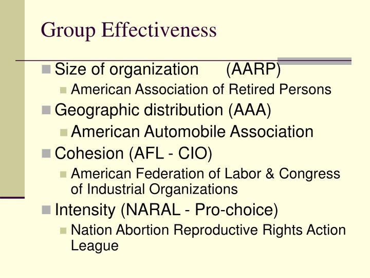 Group effectiveness