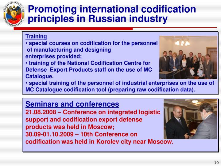 Promoting international codification principles in Russian industry