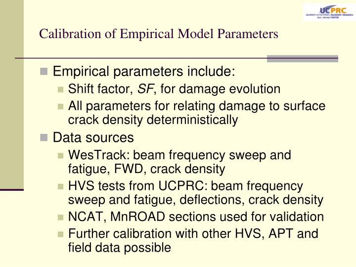 Calibration of Empirical Model Parameters