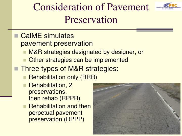 Consideration of Pavement Preservation