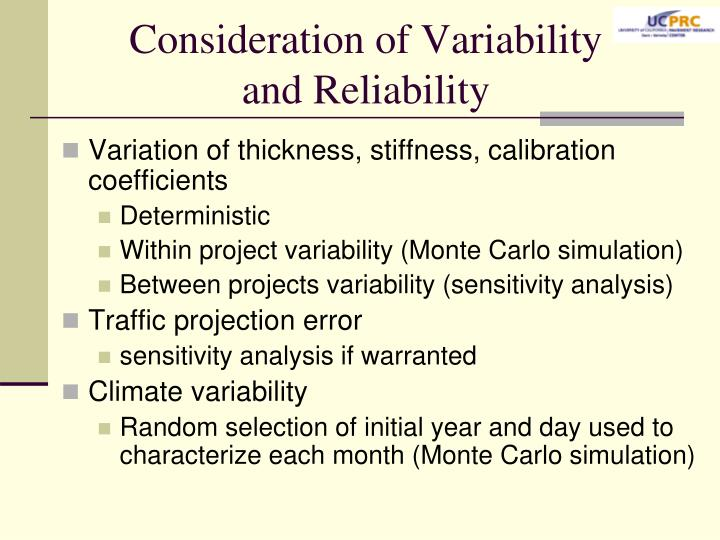 Consideration of Variability and Reliability